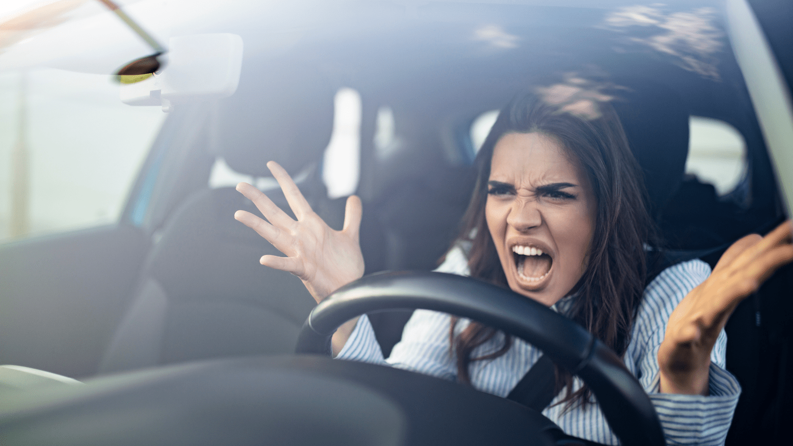 young indian woman can't control her anger issues in the car
