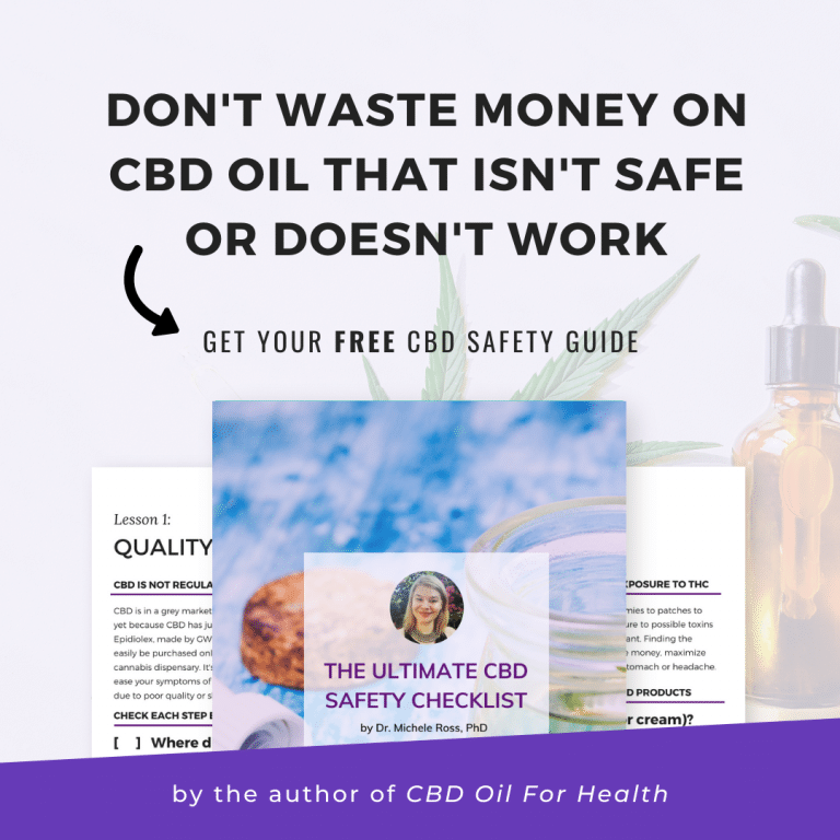 download the ultimate cbd safety checklist by dr. michele ross phd the author of CBD Oil for Health