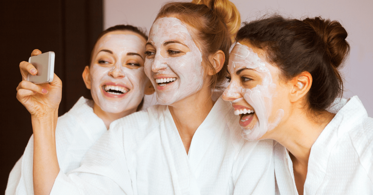 women are friends and enjoying spa day
